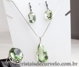 Luxuoso Conjunto Gemas Prasioilta Verde Prata 950 cod 120474