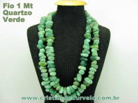 Fio Quartzo Verde Pedra Rolada Furos Centrais 90cm Reff FF4348