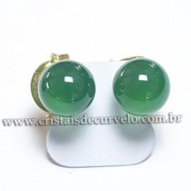 Brinco Bolinha Pedra Agata Verde Natural Tarracha Banho Dourado