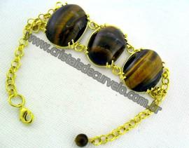Bracelete 03 Pedras Olho de Tigre Lapidação Cabochão Montagem Cor Ouro cod 156.3