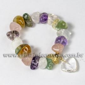 Pulseira Com Coração Quartzo Cristal Pedra Mista Silicone 113099