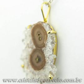 Pingente Flor de Ametista Pedra Natural Garra Dourado 120607