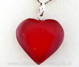 Pingente Coração Pedra JASPE VERMELHO Castoação Prata 950 Pino e Perinha