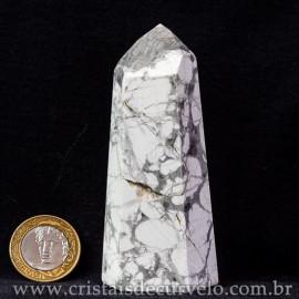 Ponta Howlita Natural Lapidaçao Gerador Sextavado Cod 113650