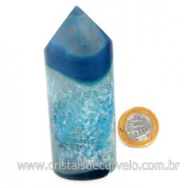 Ponta Ágata Azul Gerador Roliço Pedra Natural Cod 128515