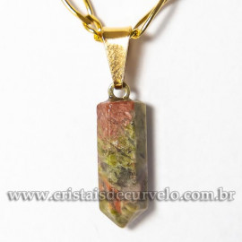 Pingente Micro Pontinha Pedra Unakita Natural Pino Dourado