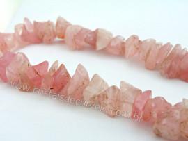 Fio Quartzo Rosa Pedra Rolado Medio Furado 80 cm Furos Manuais no Centro da Pedra FF8943