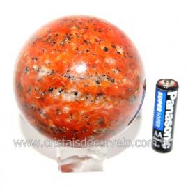 Esfera Calcita Laranja Bola Pedra Natural Boa Cor Cod 119566