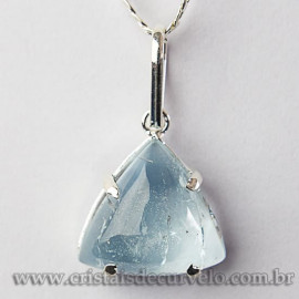 Pingente Trillion Topazio Azul Natural Garra Prateado 112590
