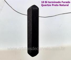 10 Bi Terminado QUARTZO PRETO Furado Para Pingente de Colar Furo Vazado Lateral Tamanho 2.5  Cm