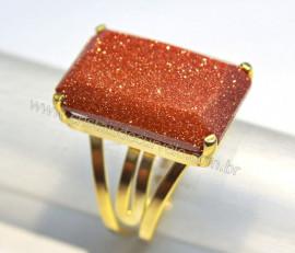 Anel Pedra do Sol Facetado Banho Flash Dourado Aro Ajustavel REFF 25.4