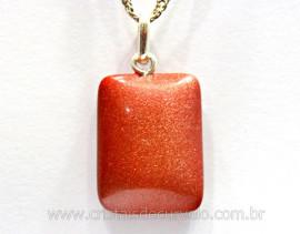 Pingente Retangulo Pedra do Sol Prata 950 Pino Reff PR2991