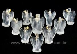 10 Anjinho Pingente Pedra Quartzo Cristal Pino Dourado AP4562