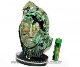 Busto de Artesanato Rosto Esculpido Pedra Esmeralda Cod RE9170