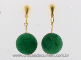 Brinco Disco Pedra Quartzo Verde Pino Tarracha Banho Ouro Flash