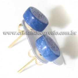 Brinco Botton Pedra Quartzo Azul Pino Tarraxa Banho Dourado