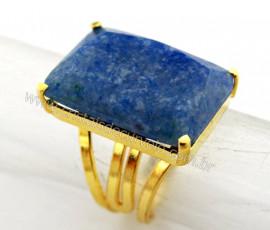Anel Quartzo Azul Facetado Pedra natural de Garimpo Banho Flash Dourado Aro Ajustavel REFF 25.1