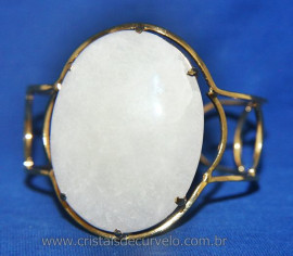 Bracelete Fixo Pedra Quartzo Leitoso Grande Dourado Reff 107411