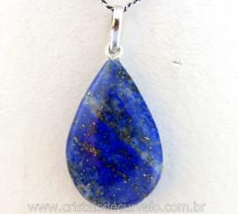 Pingente Gota Pedra Lapis Lazuli Castoação Prata 950 Pino e Perinha