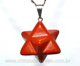 Merkaba Pingente Pedra Jaspe Vermelho Lapidação Manual com Presilha Prateado