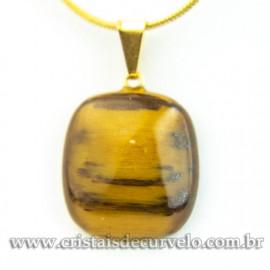Mini Pingente Retangular Pedra Olho de Tigre Pino Dourado