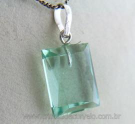Pingente Obsidiana Verde Facetado Manual Montagem Prata 950 Pino e Presilha
