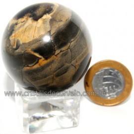Bola Onix Preto Pedra Natural Lapidado Artesanal Cod 118747