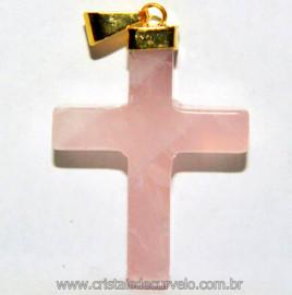 Crucifixo Quartzo Rosa Natural Montagem Dourada Reff PC5436