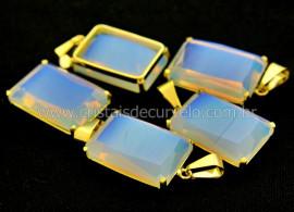 Pingente Pedra da Lua Opalina Facetado Manual Montagem Garra Dourado