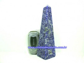 Obelisco Quartzo Azul  Pedra Natural Lapidação Manual Cod 440.5