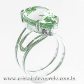 Anel Gema Prasiolita Verde Facetada Prata 950 Ajustavel 112419
