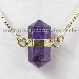 Colar Pedra Ametista Bi Ponta Natural Envolto Dourado 113145