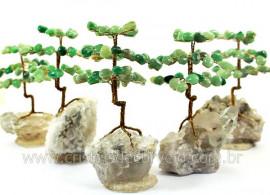 4 Arvore Felicidade Pedra Quartzo Verde na Drusa REFF AD8475