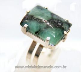 Anel Esmeralda Retangular Prateado Ajustável Reff 106418