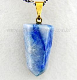 Pingente Pontinha Pedra Quartzo Azul Presilha e Pino Dourado