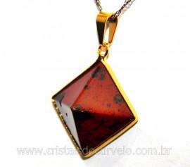 Pingente Piramide Pedra Obsidiania Mahogany  Castoação Envolto Flash Dourado