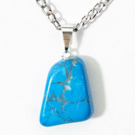 Pingente Howlita Azul Pedrinha Rolado Pino Prateado PP5288