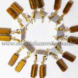 05 Brinco Pedra Olho de Tigre Retangulo Ranhurado Dourado ATACADO