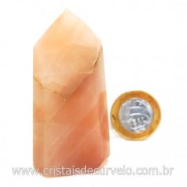 Ponta Pedra Quartzo Goiaba Natural Lapidação Gerador Cod 127905