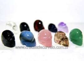 10 Mini Crânios Mistos Esculpidos em Pedras Naturais (furado para Pingente ATACADO) MC7450