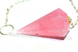 Pendulo QUARTZO ROSA Pedra Natural P Radiestesia Lapidação Facetado Brinde Corrente