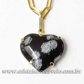 Pingente Coração Obsidiana Flocos de Neve Garra Dourado 112848