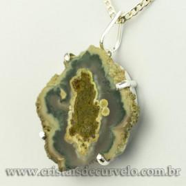 Pingente Flor de Ametista Pedra Natural Garra Prateado 120616