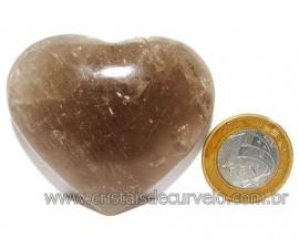 Coraçao Pedra Quartzo Fume com Esfumaçado Natural Cod 116098