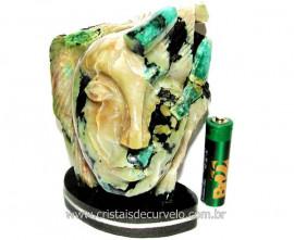 Busto de Artesanato Rosto Esculpido Pedra Esmeralda Cod RE4944