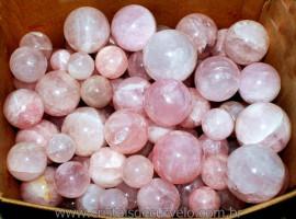 Esfera de QUARTZO ROSA no ATACADO Pacote com 3kg Reff BR7523