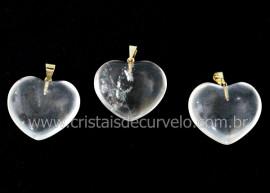 03 Pingente Coração Pedra Quartzo Cristal Natural Montagem Flash Dourado ATACADO