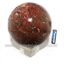 Esfera Calcedônia Mosaico Pedra Natural Lapidação Bola cod 119094