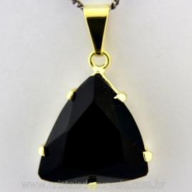 Pingente Trillion Obsidiana Negra Cachinha e Garras Reforçado Banho Flash Dourado REF 15.8