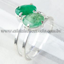 Anel 2 Gema Esmeralda Extra Facetado Prata 950 Ajustavel 112525